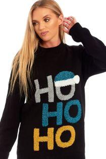 Black Ho Ho Glitter Cap Knitted Christmas Jumper