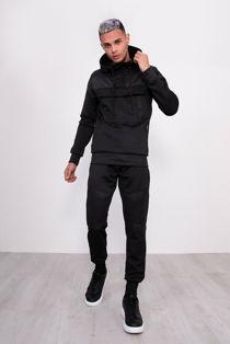 Black Hybrid Pullover Skinny Tracksuit