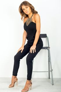 Black Jewel Halterneck Jumpsuit