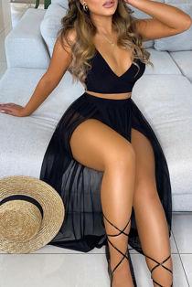 Black Mesh Maxi Skirt