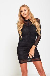 Black Mesh Ruched Long Sleeve Mini Dress