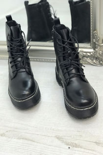 Black PU Lace Up Biker Boots