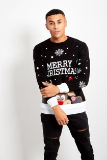 Black Pom Reindeer Merry Christmas Jumper