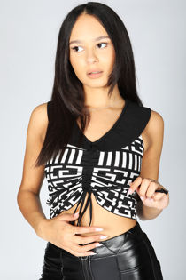Black Printed Ruched Front Crop Top