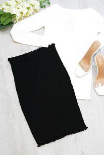 Black Ribbed Frill Hem Skirt