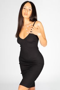 Black Ribbed Strappy Bodycon Dress