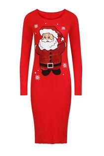 Cream Santa Print Christmas Midi Dress