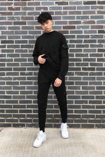 Black Skinny Cargo Sweater Tracksuit