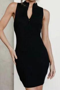 Black Sleeveless Zip Bodycon Dress