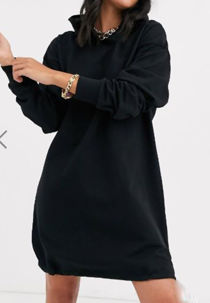 Black Slouchy Pocket Hooded Sweat Dress