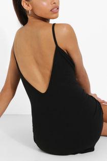 Black Strappy Detail Backless Cami Dress