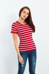 Black Striped Frill T-shirt Top