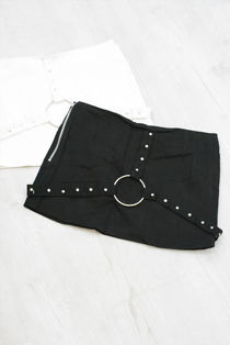 Black Studded Harness Denim Skirt