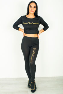 Charcoal Sweet But psycho Crop top Tracksuit