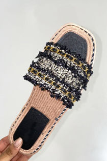 Black Woven Gold Chain Raffia Slider Sandal