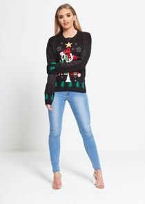 Black X-MAS Star Tree Knitted Christmas Jumper