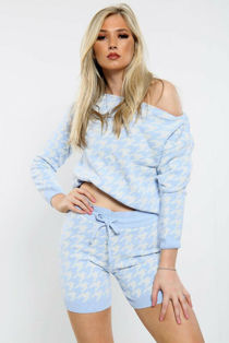 Blue Dogtooth Slash Neck Knitted Short Loungewear