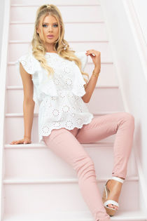 Broderie Anglaise Frill Sleeveless Blouse