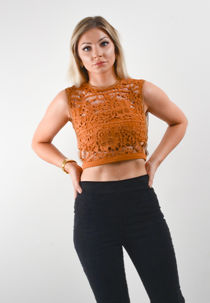 Brown Floral Lace Overlay Crop Top