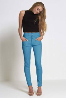 Button Up Corset Waist Teal Skinny Jeans