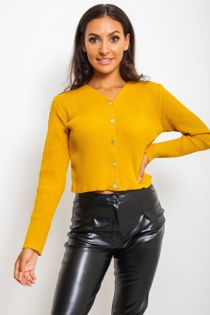 Mustard Button Front Cardigan