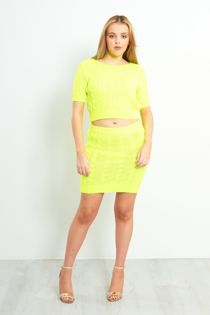 Cable Knit Crop Top And Skirt Co-Ord