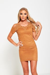 Camel Lace Applique Cold Shoulder Suede Mini Dress