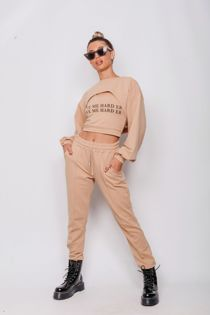 Camel Love Me Harder Crop Top 3 Piece Tracksuit