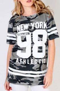 Camo New York Print Longline T-Shirt