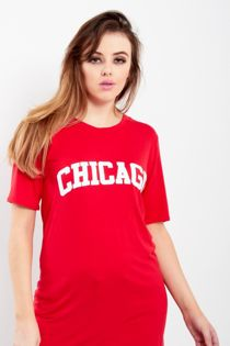 Charcoal Chicago Oversized Long T-Shirt