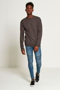 Charcoal Distressed Knitted Jumper