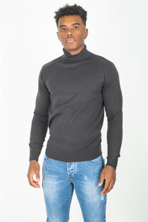 Charcoal Fine Knit Polo Neck Jumper