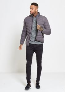 Charcoal Funnel Neck Quilted Bomber Jacket
