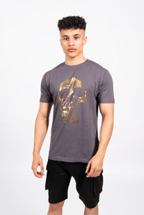 Gold Skull Print Crew Neck T-Shirt