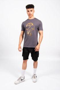 Charcoal Gold Skull Print Crew Neck T-Shirt