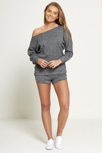 Charcoal Marl Knit Jumper And Short Set