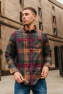 Charcoal Pocket Front Brushed Check Shirt