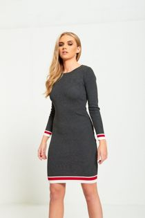 Charcoal Ribbed Striped Detail Curve Dress