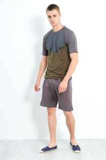 Charcoal Three-Tone Raglan Sleeve Shorts Set