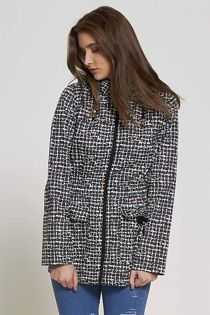 Checked Black Rain Coat
