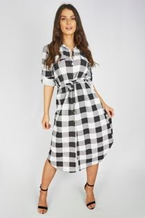 Checked Tie Midi Shirt Dress