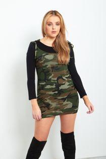Camo Print Bodycon Pinafore Dress