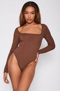 Chocolate Ribbed Square Neck Long Sleeve Bodysuit