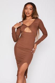 Chocolate Ribbed Twist Bust Detail Long Sleeve Midi Dress