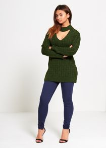 Khaki Choker Neck Knitted Jumper