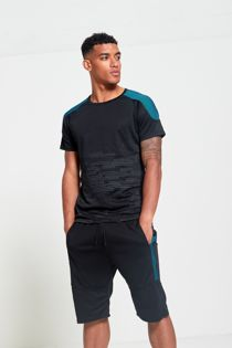 Ribbed Shoulder Panel T-Shirt and Short Set