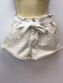 Cream Elasticated Waist Belted Shorts