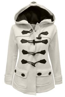 Cream Fleece Hooded Toggle Jacket