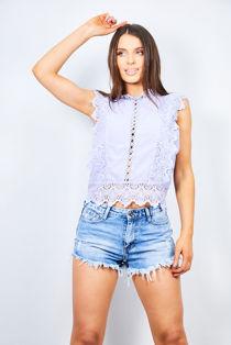 Lilac Crochet Mandarin Top