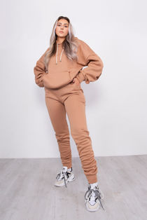 Camel Oversized Ruched Hoodie And Jogger Lounge Set